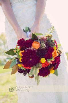 Fall Wedding with Dahlias, Ranunculus, Scabiosa